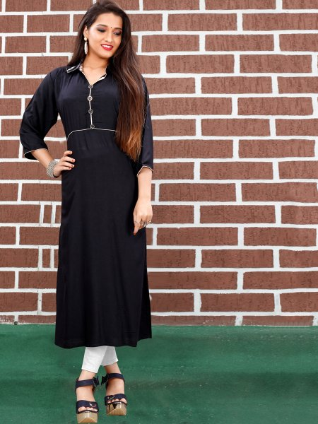 Black Art Silk Plain Casual Kurti