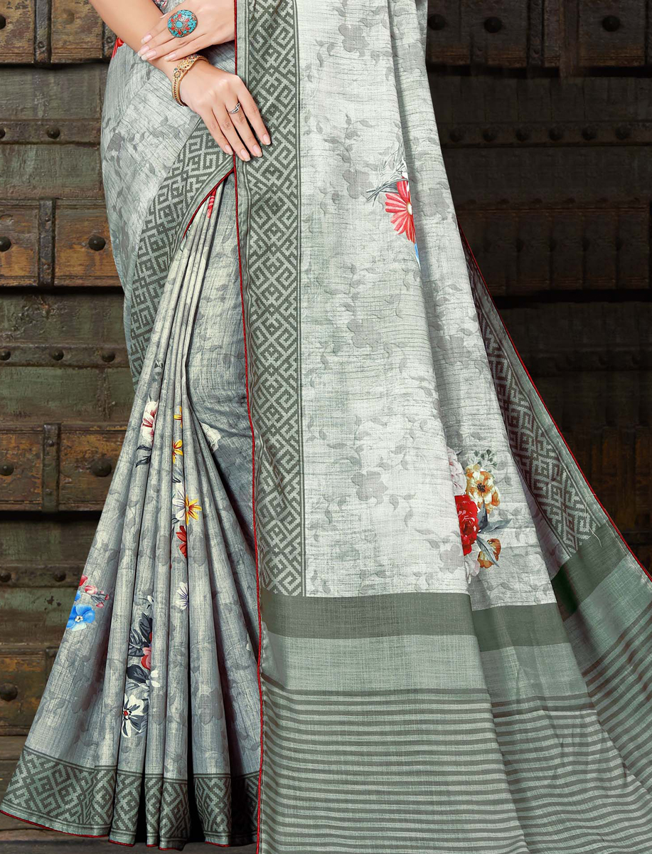 Gray Linen Silk Printed Casual Saree