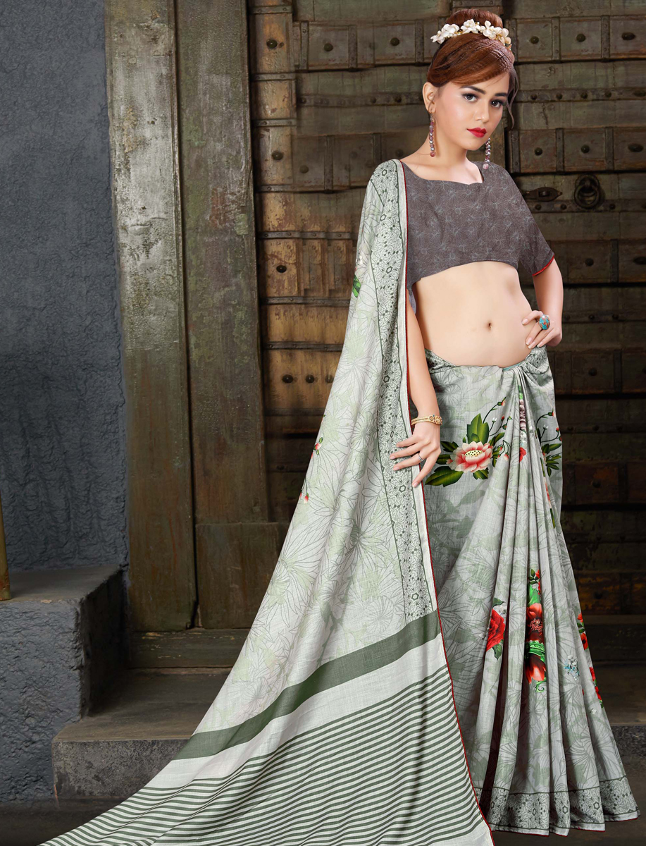 Off-White Linen Silk Printed Casual Saree