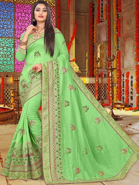 Light Green Vichitra Silk Embroidered Festival Saree
