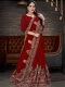 Maroon Vichitra Silk Embroidered Party Saree