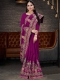 Purple Vichitra Silk Embroidered Party Saree