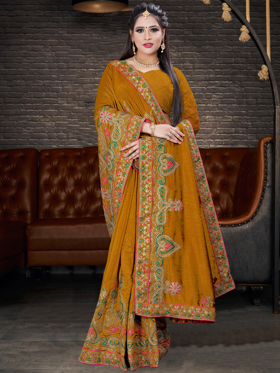 Mustard Yellow Vichitra Silk Embroidered Party Saree