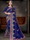 Royal Blue Vichitra Silk Embroidered Party Saree