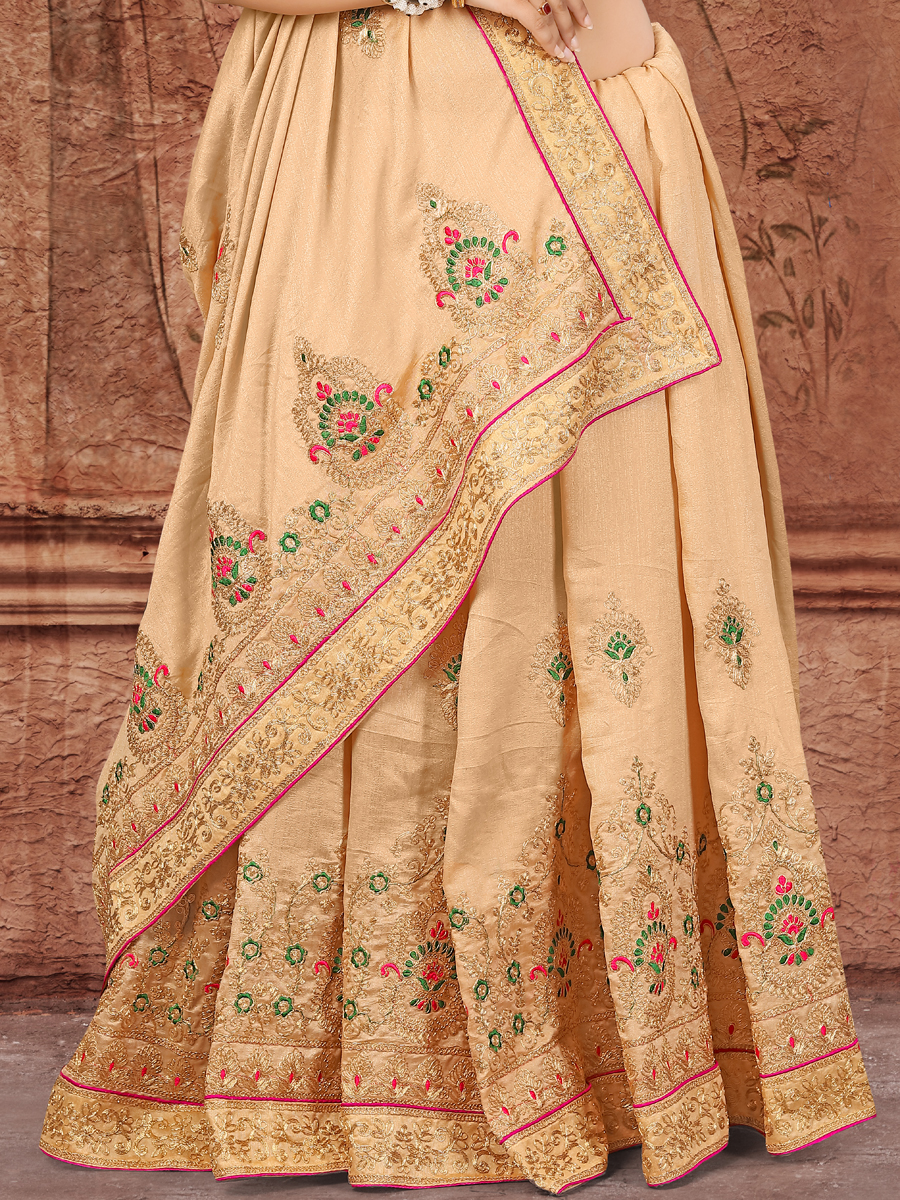 Beige Yellow Vichitra Silk Embroidered Party Saree