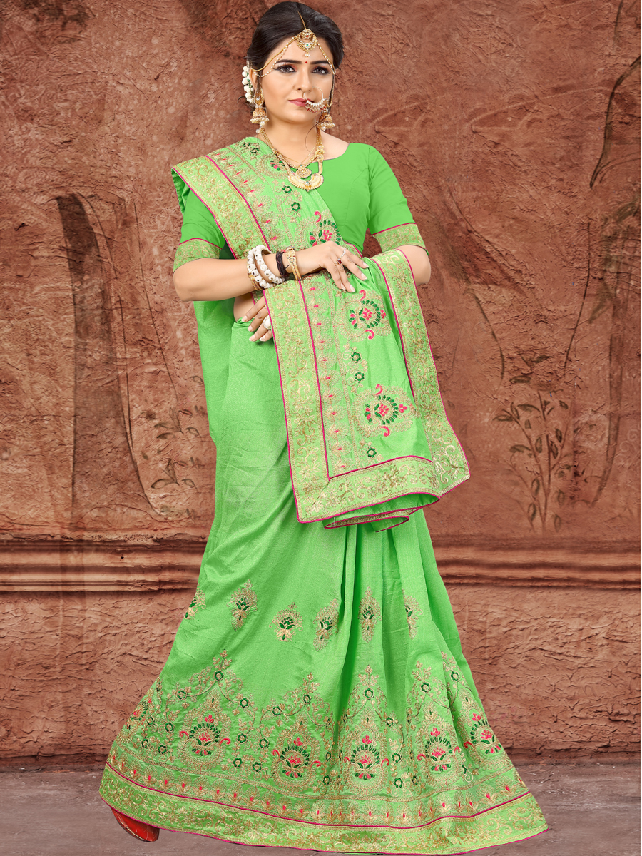 Parrot Green Vichitra Silk Embroidered Party Saree