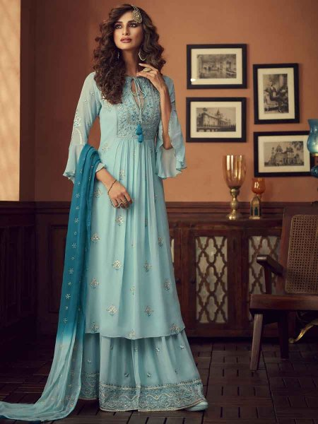 Sky Blue Faux Georgette Embroidered Festival Palazzo Pant Kameez