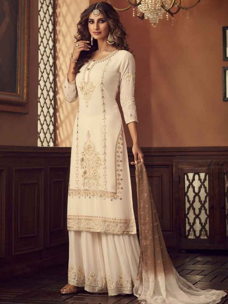 Off-White Faux Georgette Embroidered Festival Palazzo Pant Kameez