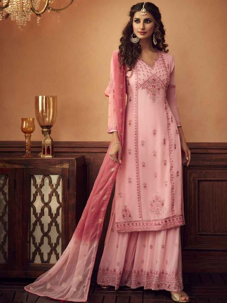 Light Pink Faux Georgette Embroidered Festival Palazzo Pant Kameez