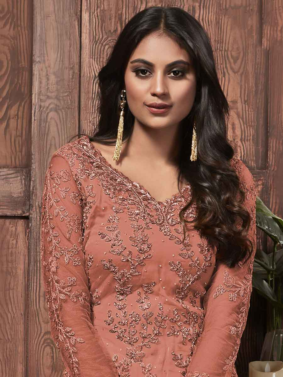Coral Pink Net Embroidered Party Pant Kameez