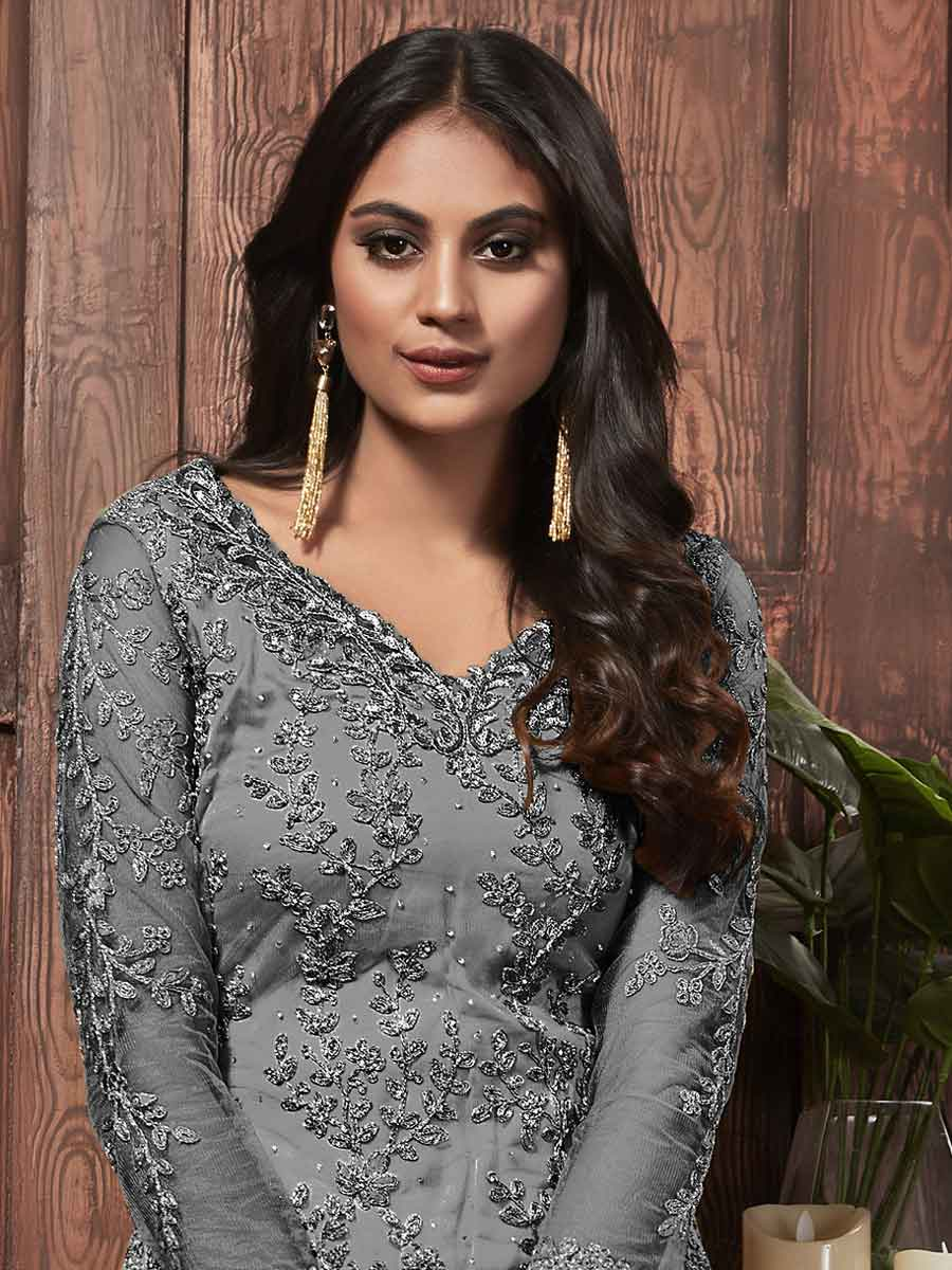 Gray Net Embroidered Party Pant Kameez