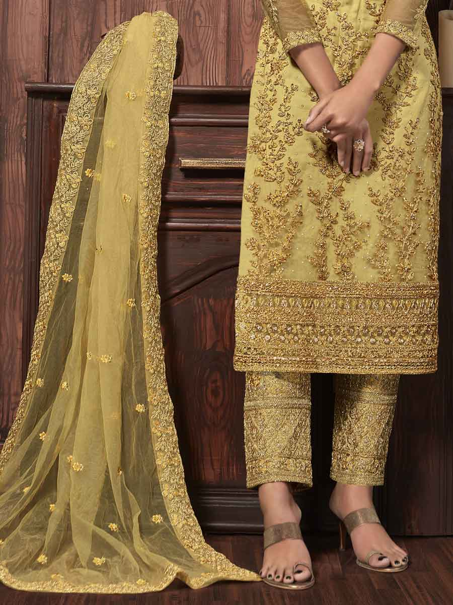 Maize Yellow Net Embroidered Party Pant Kameez