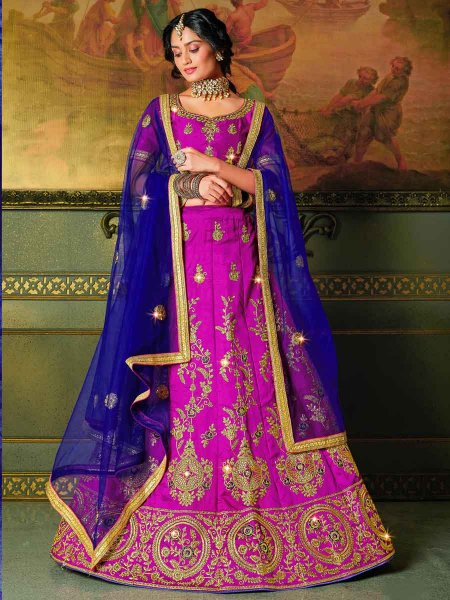 Fuchsia Pink Silk Embroidered Party Lehenga Choli