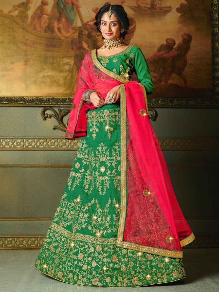 Dark Green Silk Embroidered Party Lehenga Choli