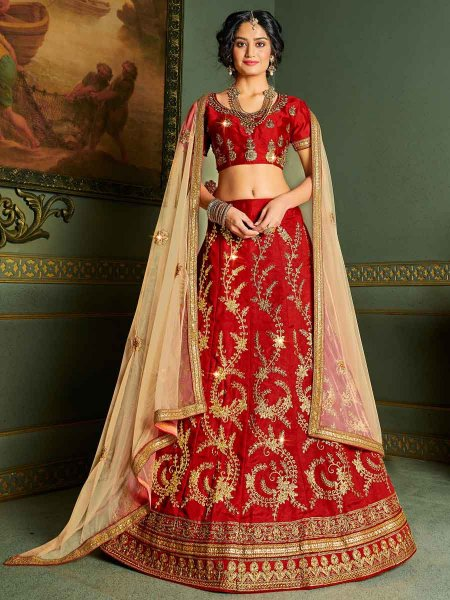 Venetian Red Silk Embroidered Party Lehenga Choli