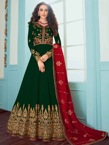 Hunter Green Faux Georgette Embroidered Festival Lawn Kameez