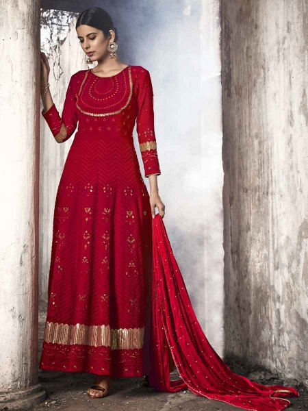 Venetian Red Faux Georgette Embroidered Party Lawn Kameez