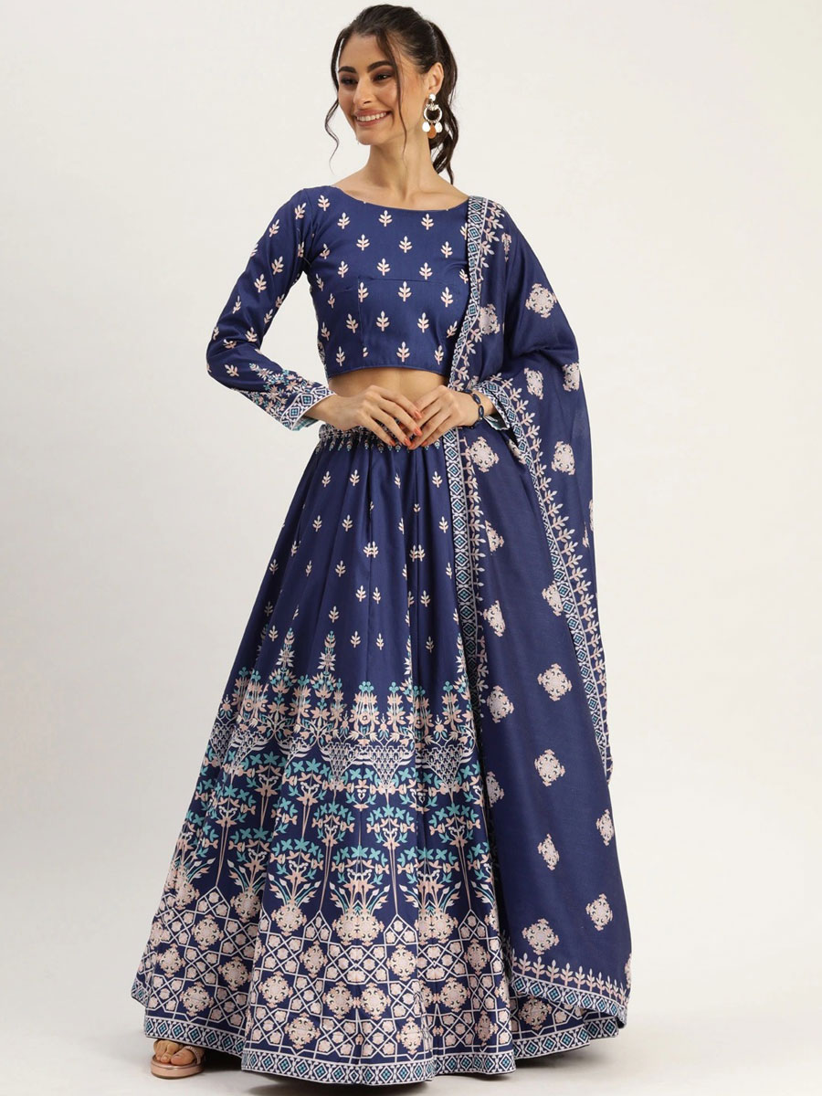 Navy Blue Silk Printed Festival Lehenga Choli
