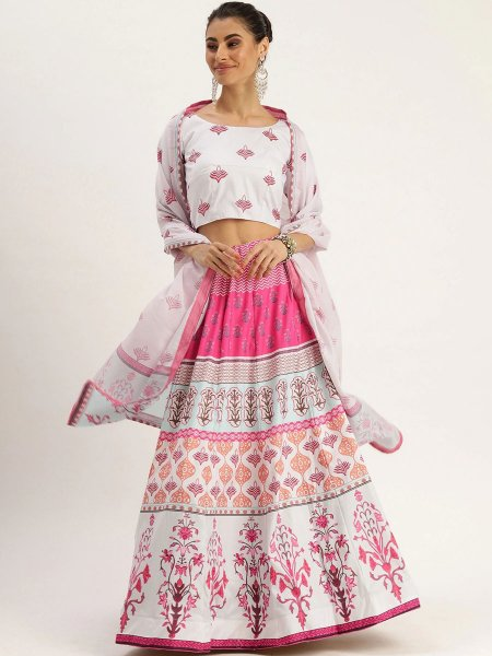 White and Cerise Pink Silk Printed Festival Lehenga Choli