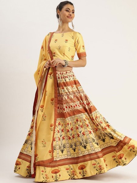 Buff Yellow Silk Printed Festival Lehenga Choli