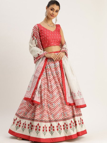 Off-White and Carmine Pink Silk Printed Festival Lehenga Choli