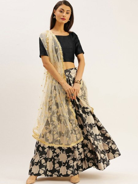 Black and Cream Yellow Satin Printed Party Lehenga Choli