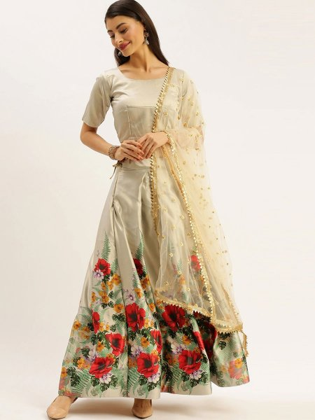 Gray Satin Printed Party Lehenga Choli