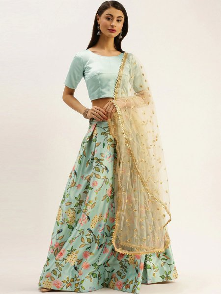 Sky Blue Satin Printed Party Lehenga Choli