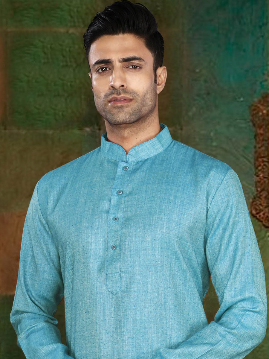Sky Blue Cotton Plain Casual Kurta