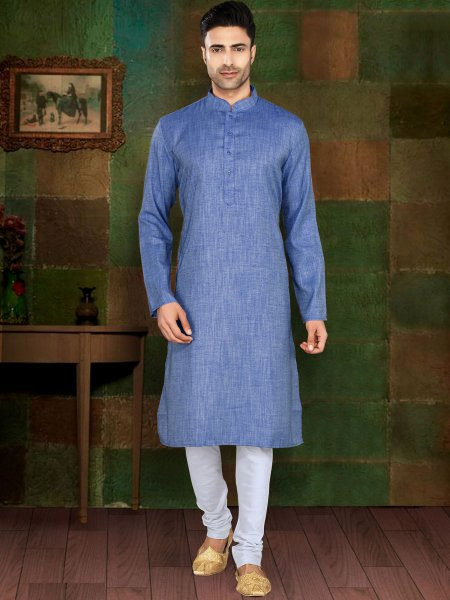 Denim Blue Cotton Plain Casual Kurta