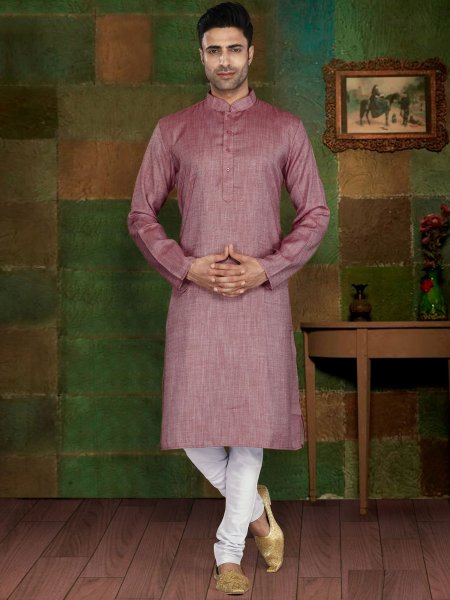 Light Purple Cotton Plain Casual Kurta