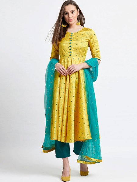 Maize Yellow Silk Embroidered Festival Lawn Kameez