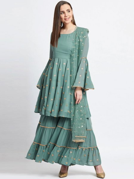 Viridian Green Faux Georgette Embroidered Festival Sharara Pant Kameez