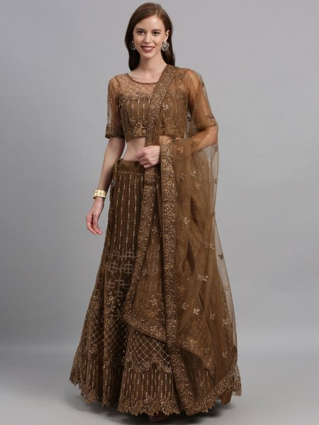 Raw Umber Brown Net Embroidered Festival Lehenga Choli