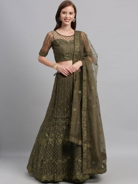 Olive Green Net Embroidered Festival Lehenga Choli