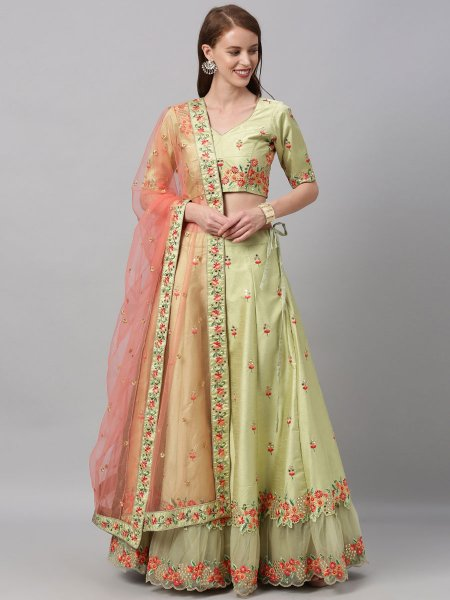 Moss Green Art Silk Embroidered Festival Lehenga Choli