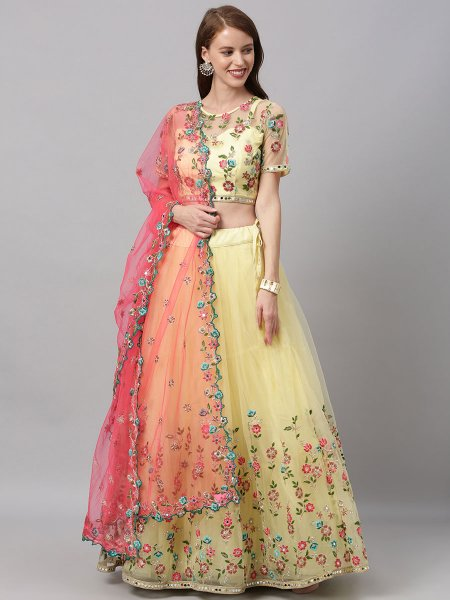 Cream Yellow Net Embroidered Festival Lehenga Choli