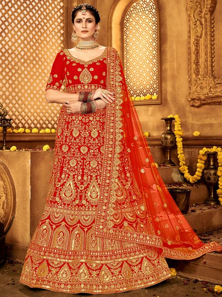 Rose Madder Red Velvet Embroidered Bridal Lehenga Choli