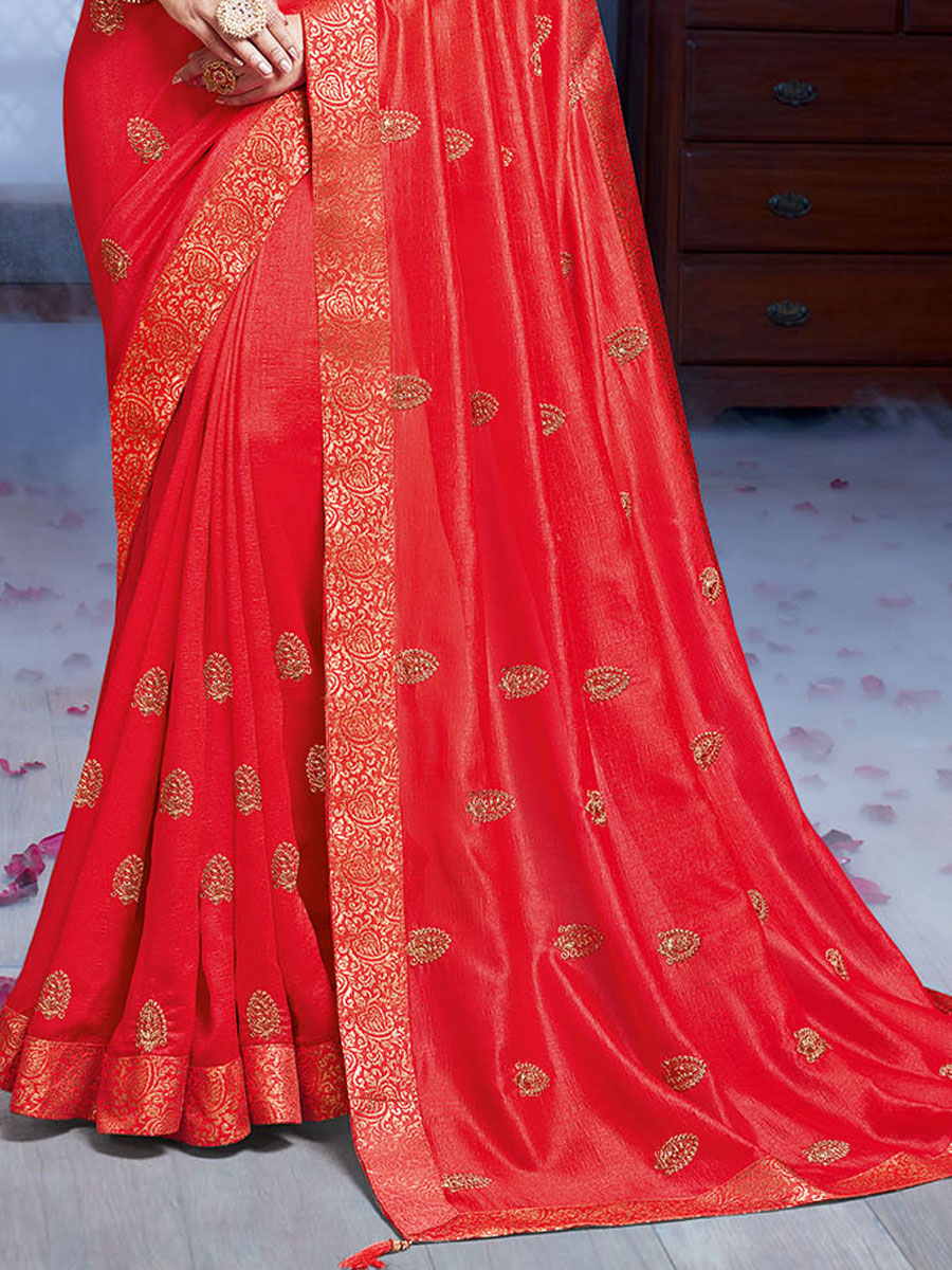 Carmine Pink Vichitra Silk Embroidered Party Saree