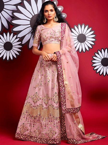 Light Thulian Pink Satin Silk Embroidered Party Lehenga Choli
