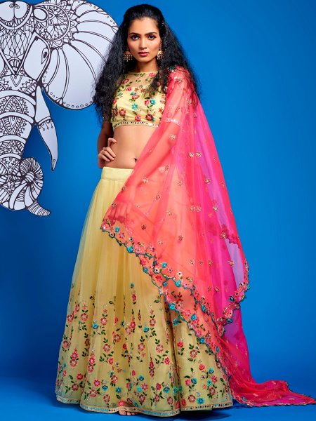Flax Yellow Net Embroidered Party Lehenga Choli