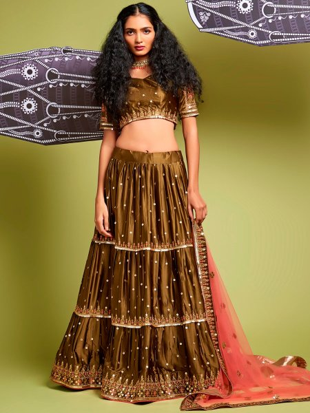 Raw Umber Brown Satin Silk Embroidered Party Lehenga Choli