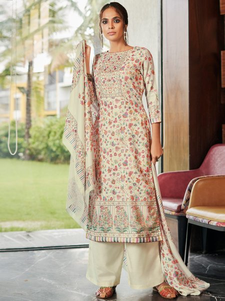 Cream Yellow Pashmina Printed Party Palazzo Pant Kameez