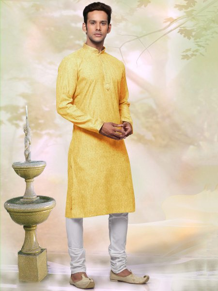 Jonquil Yellow Khadi Cotton Plain Casual Kurta