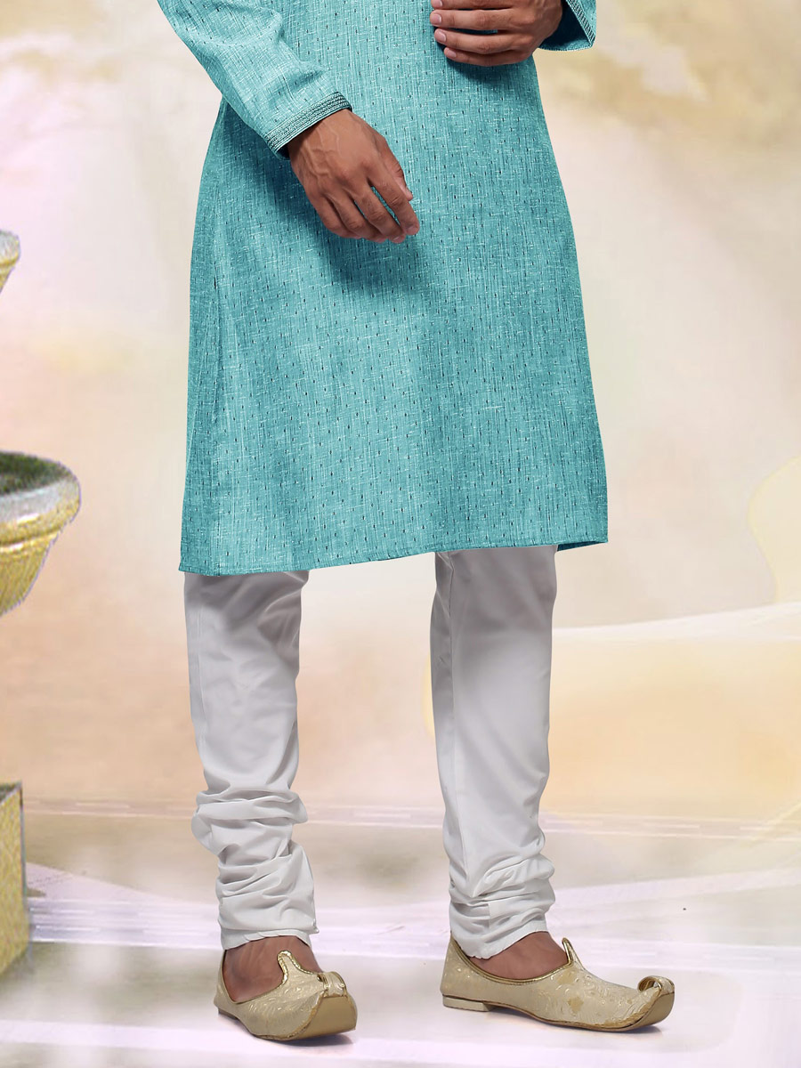 Sky Blue Khadi Cotton Plain Casual Kurta