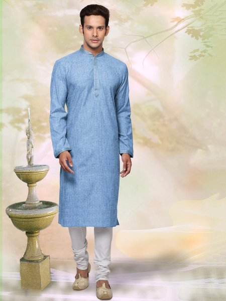 Columbia Blue Khadi Cotton Plain Casual Kurta