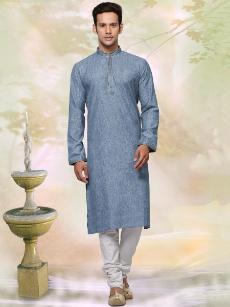 Denim Blue Khadi Cotton Plain Casual Kurta