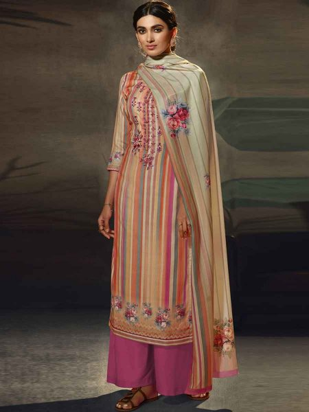 Magenta Pink and Coral Orange Pashmina Printed Party Palazzo Pant Kameez