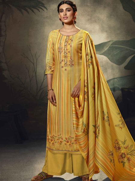 Saffron Yellow Pashmina Printed Party Palazzo Pant Kameez