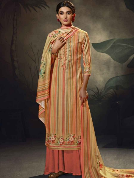 Coral Pink and Beige Yellow Pashmina Printed Party Palazzo Pant Kameez